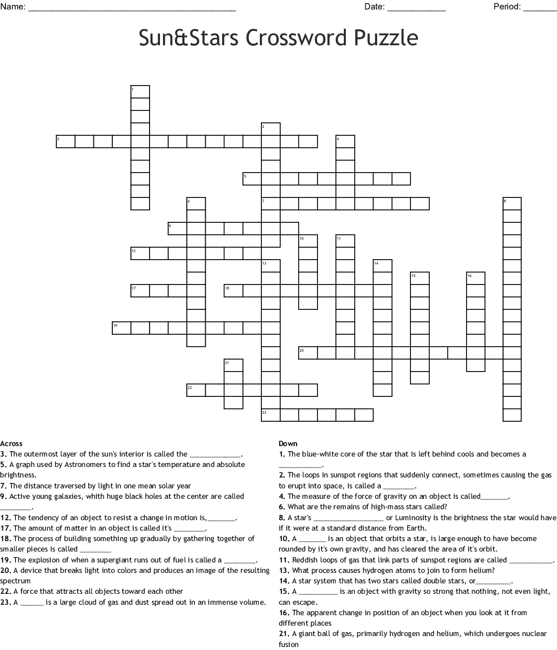 Life Cycle Of Stars Crossword