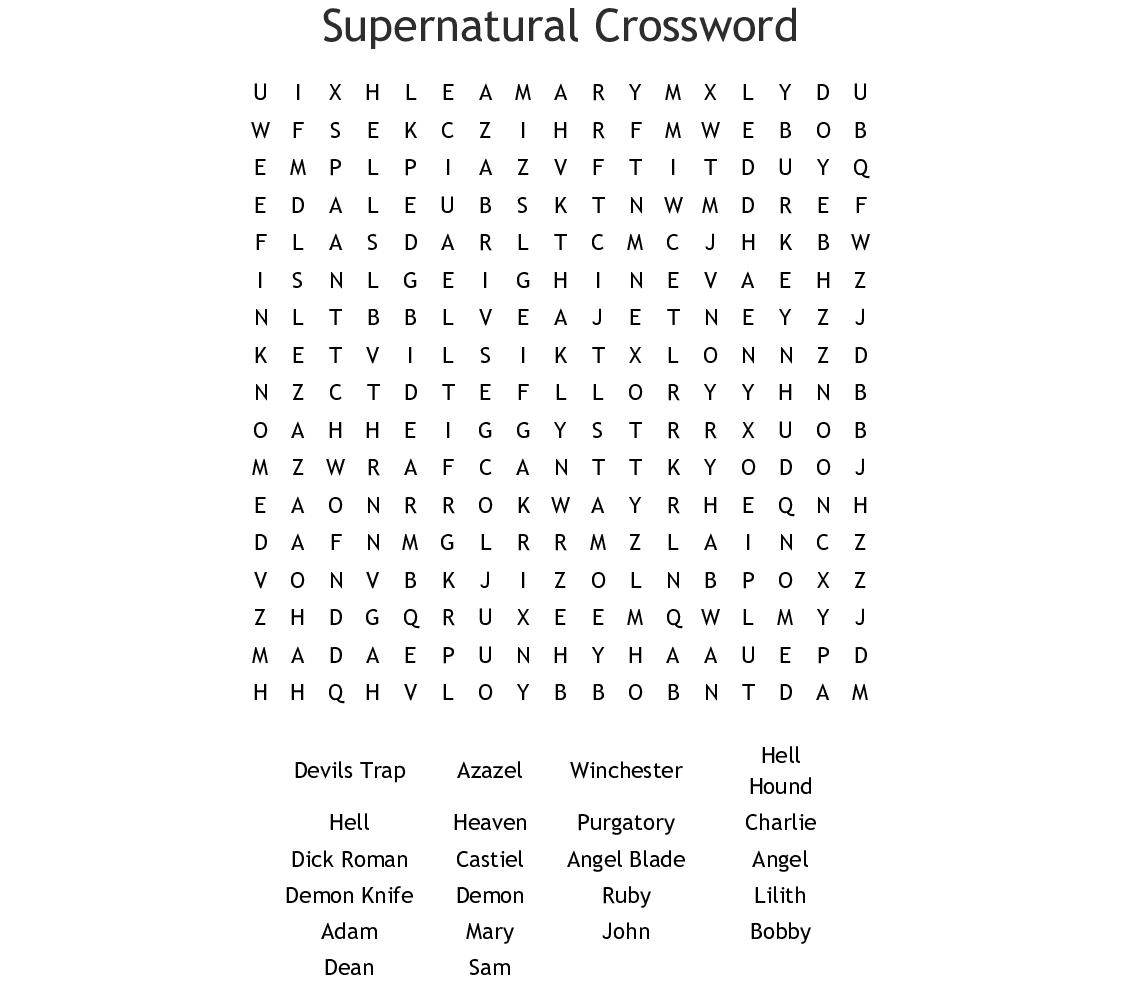 Supernatural Crossword Word Search