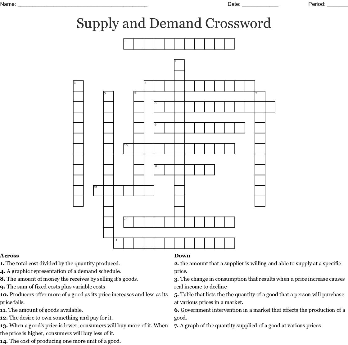 Economics Chapter 4 Crossword