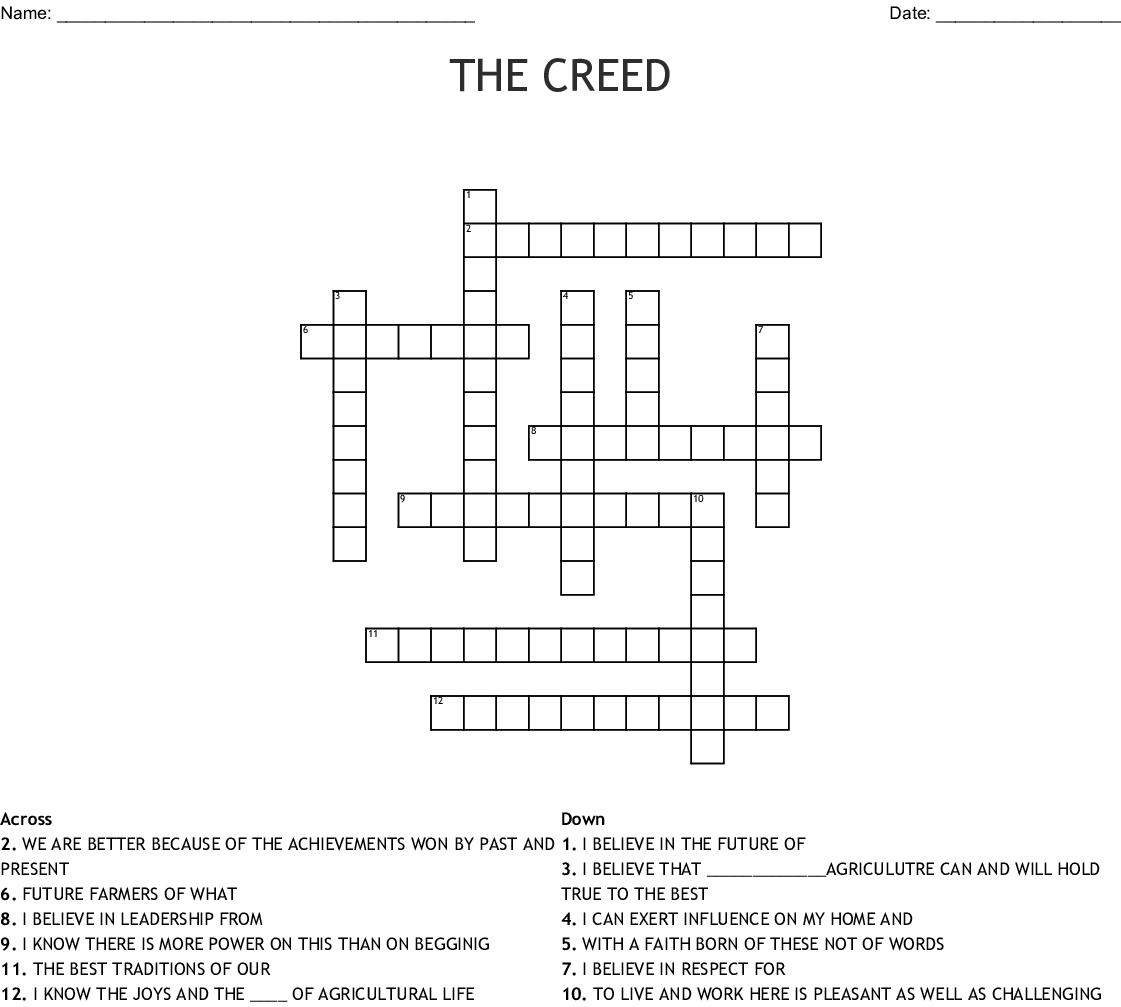 Ffa Creed Cross Word