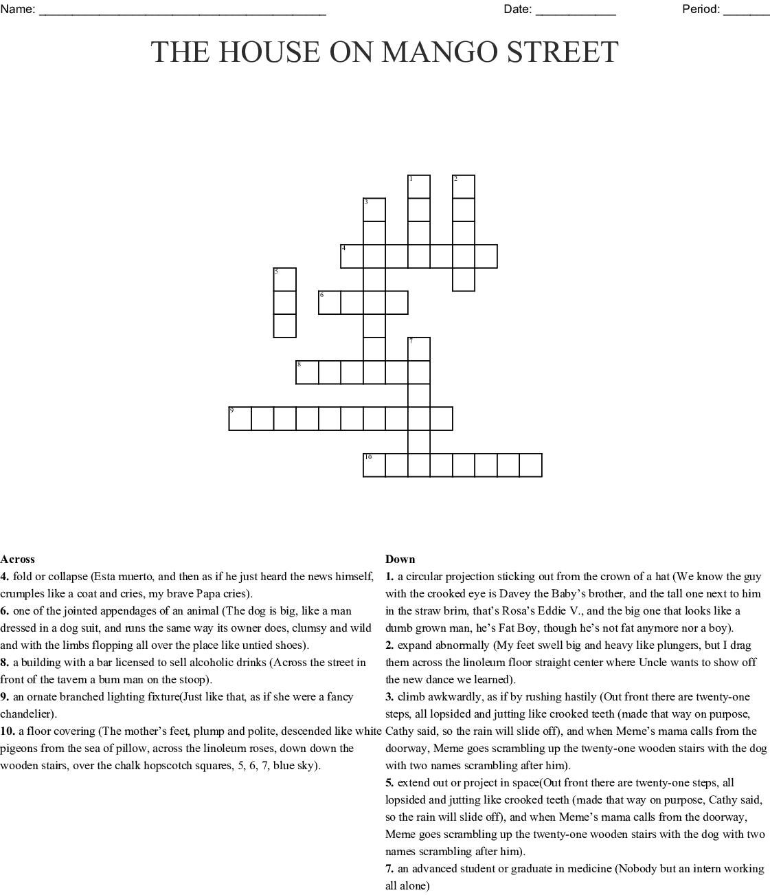 The House On Mango Street Crossword