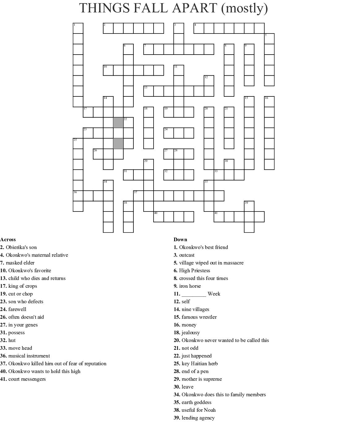 Things Fall Apart Crossword