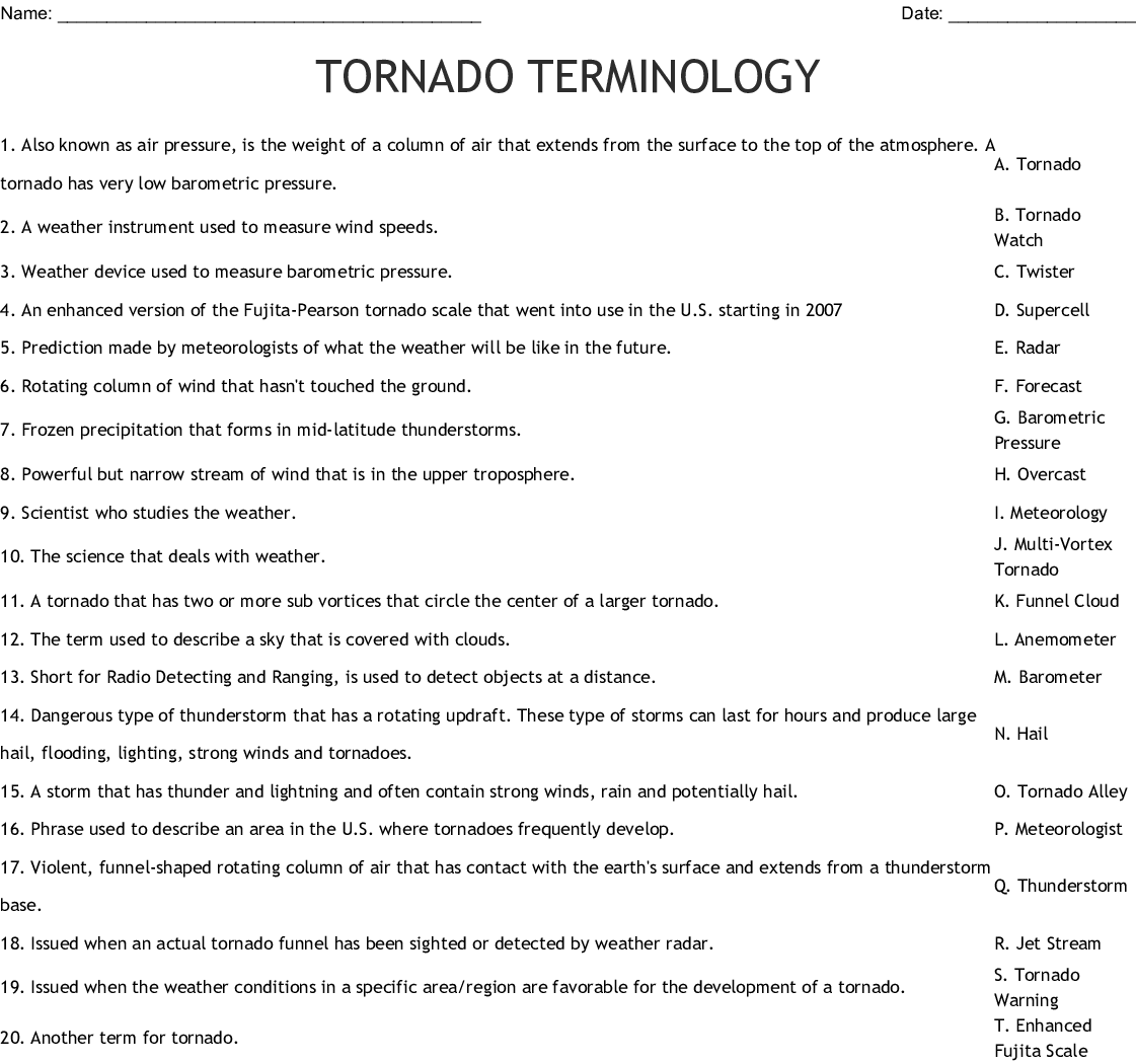 Tornado Cross Word Puzzle
