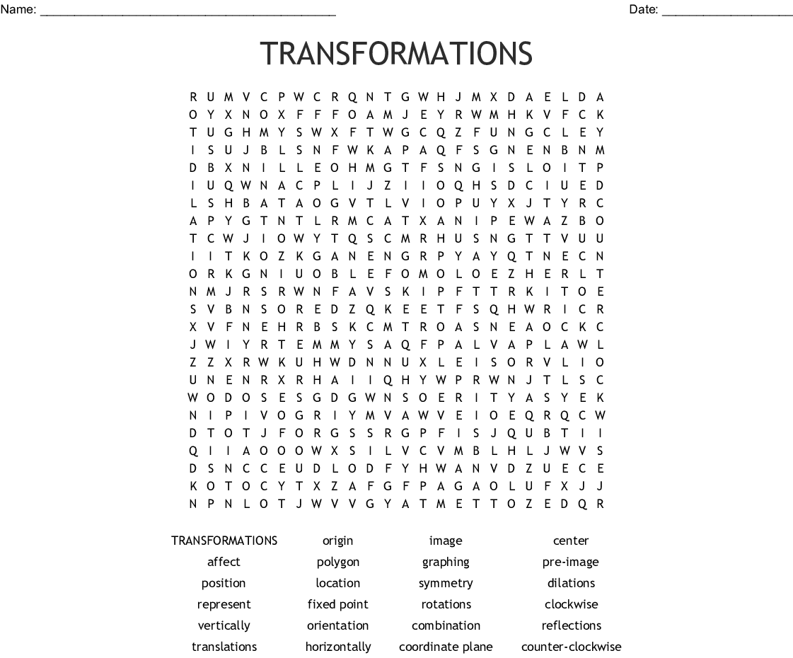 Transformations Word Search