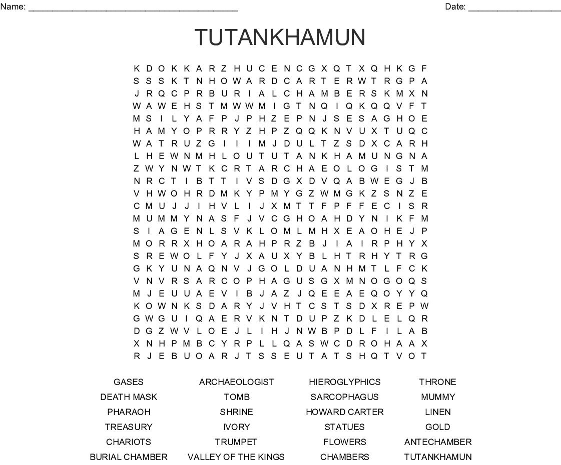 Tutankhamun Word Search