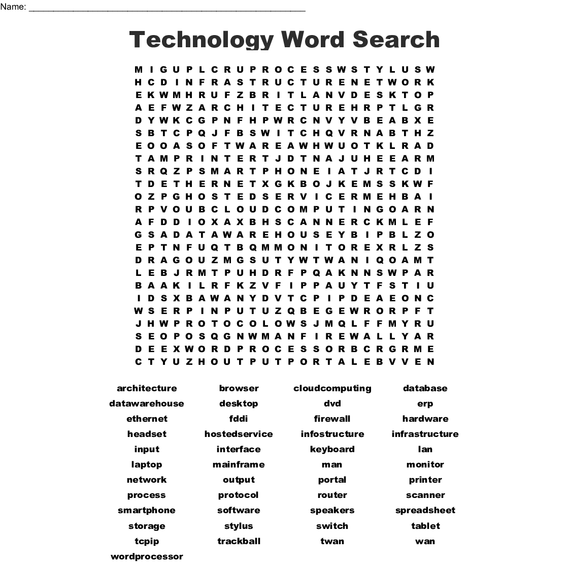 Information Technology Word Search