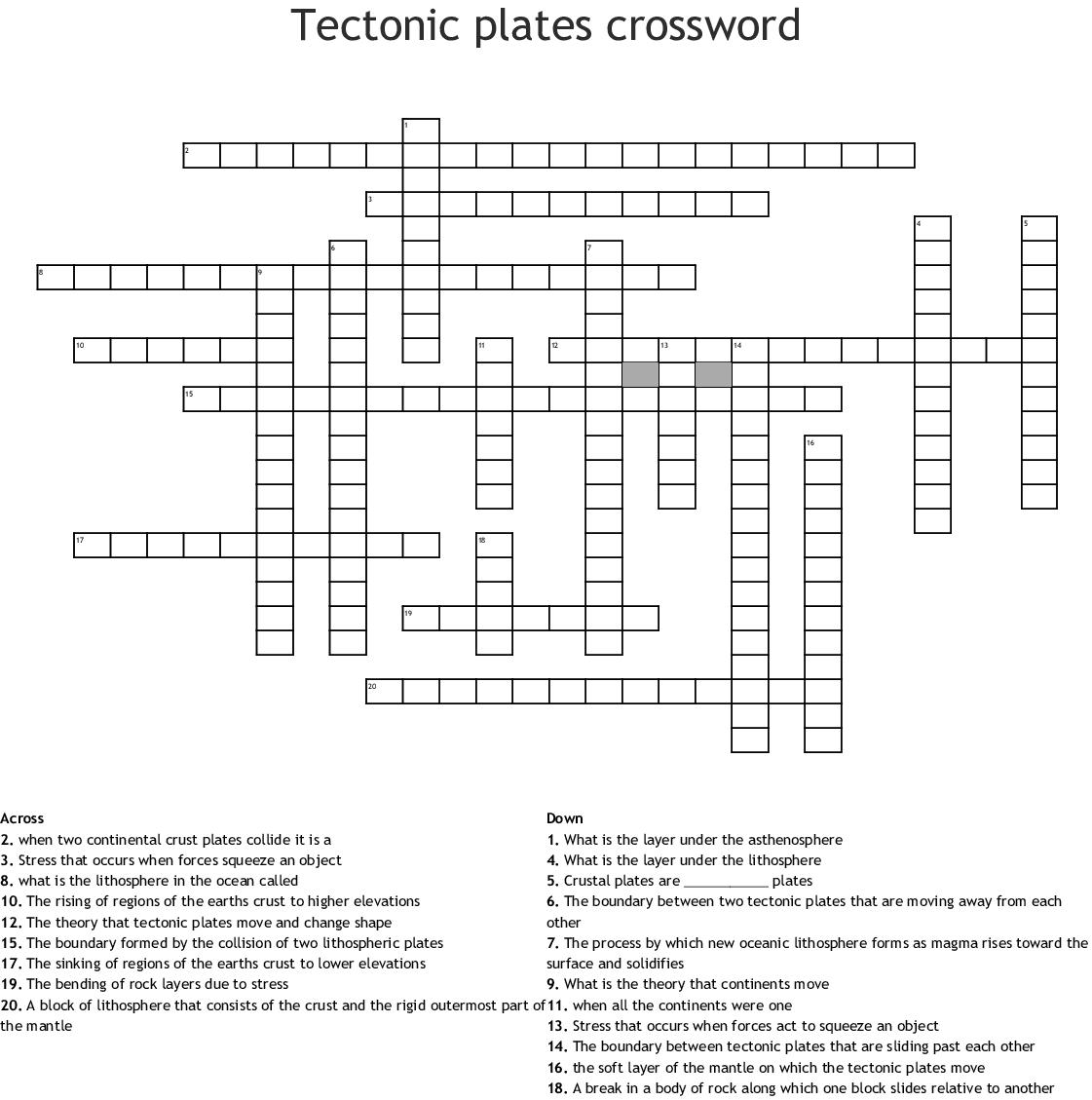 Tectonic Plates Crossword