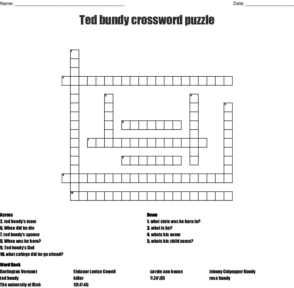 Ted Bundy Crossword Puzzle