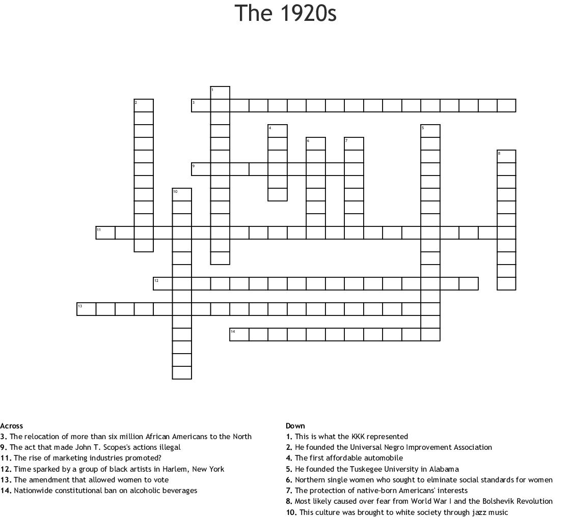 Roaring 20s Crossword Puzzle