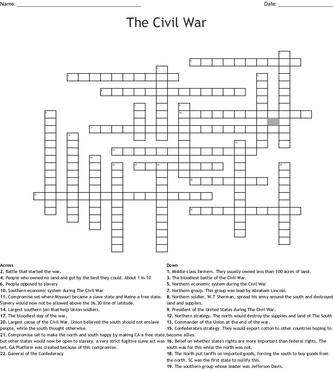 Civil War Leaders Worksheet
