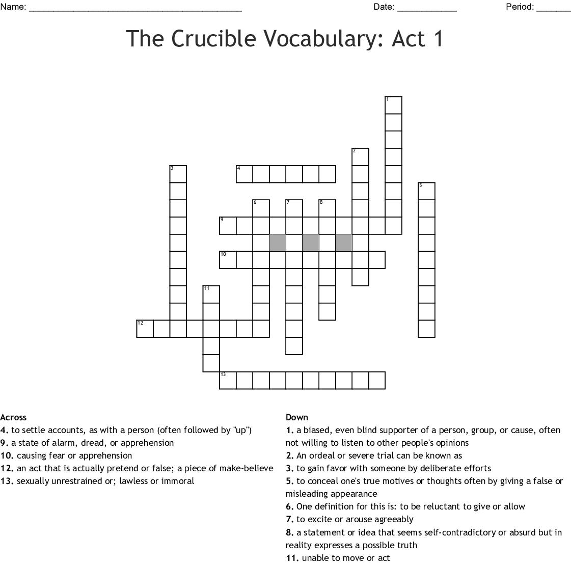 The Crucible Vocabulary Act 1 Crossword