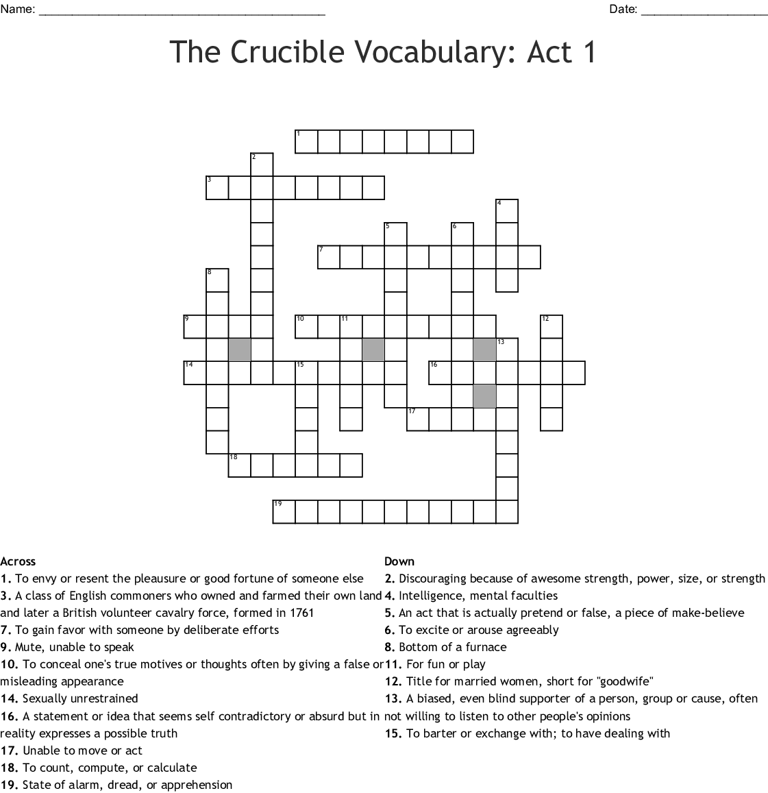 Printables Of Vocabulary Worksheet 1 The Crucible