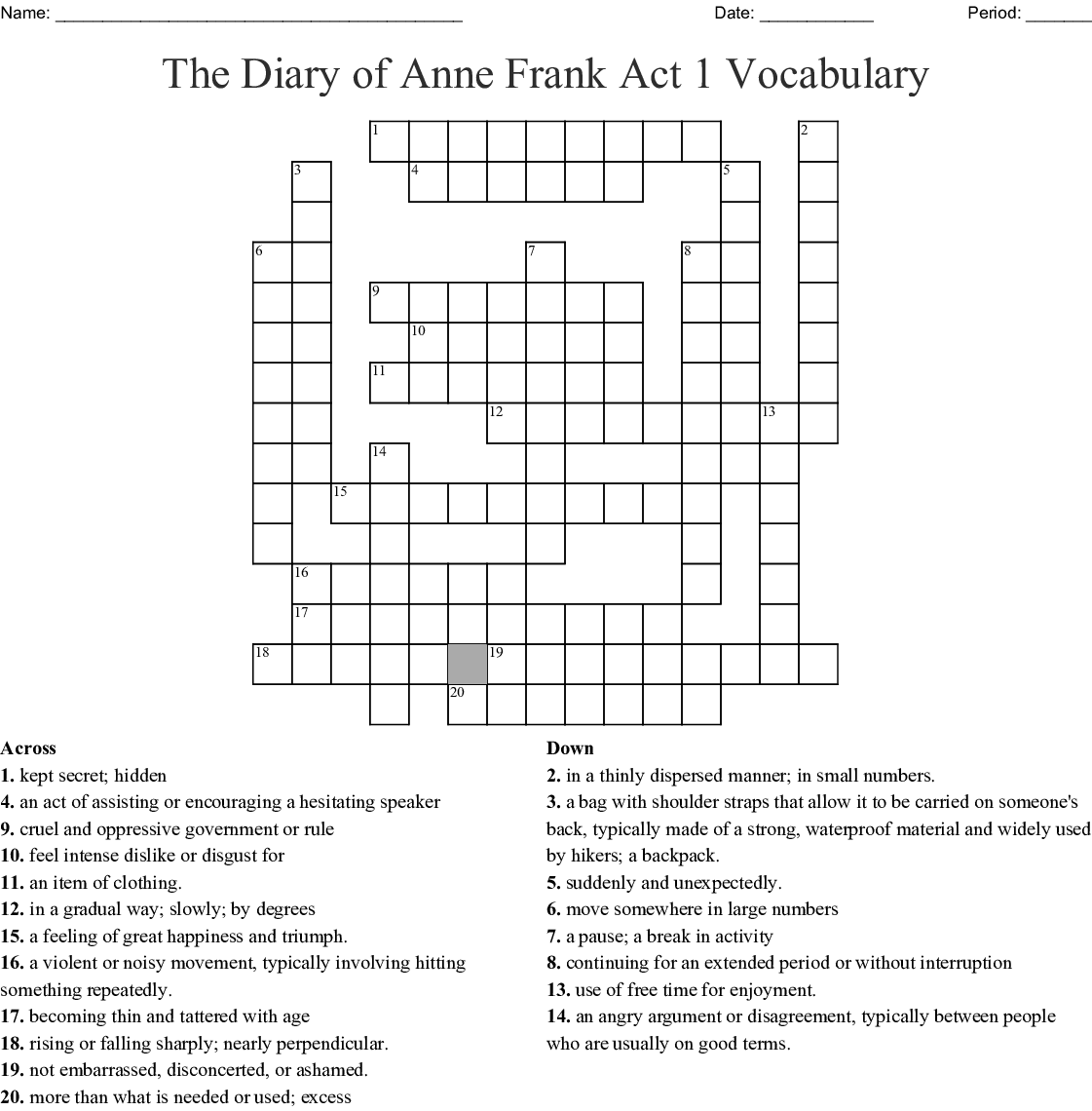 The Diary Of Anne Frank Word Search