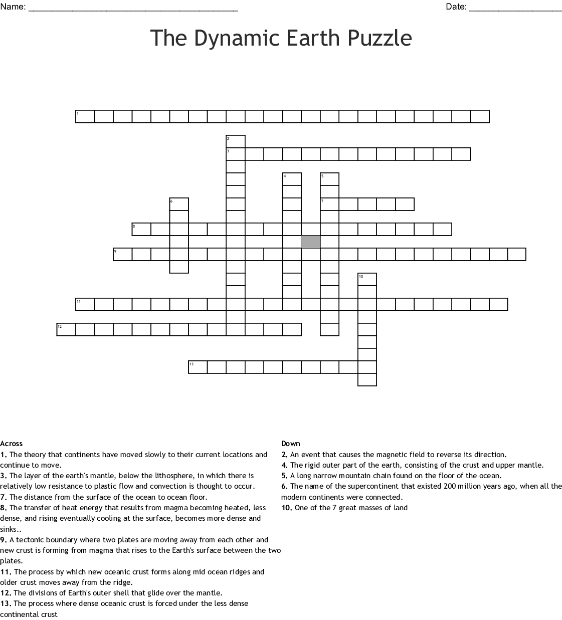 The Dynamic Earth Worksheet Answers