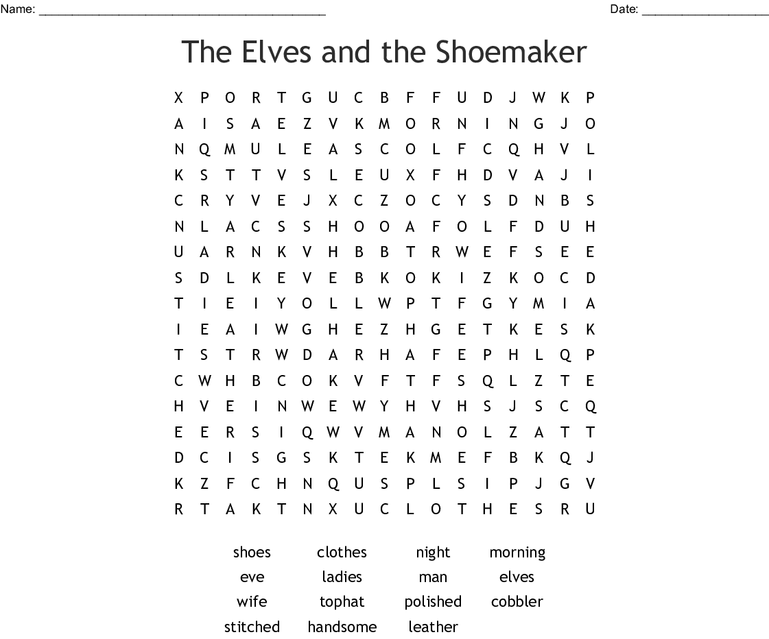 The Shoemaker And The Elves Crossword