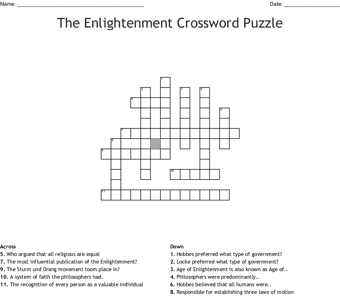 The Enlightenment Crossword Puzzle