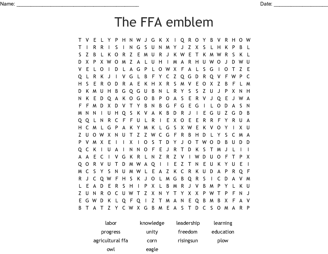 The Ffa Emblem Word Search