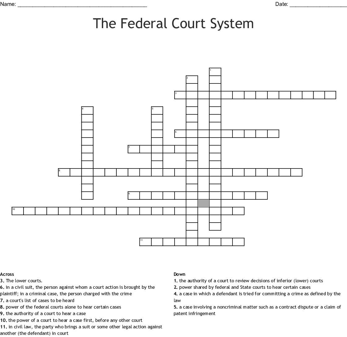 Supreme Court Vocabulary Crossword Puzzle