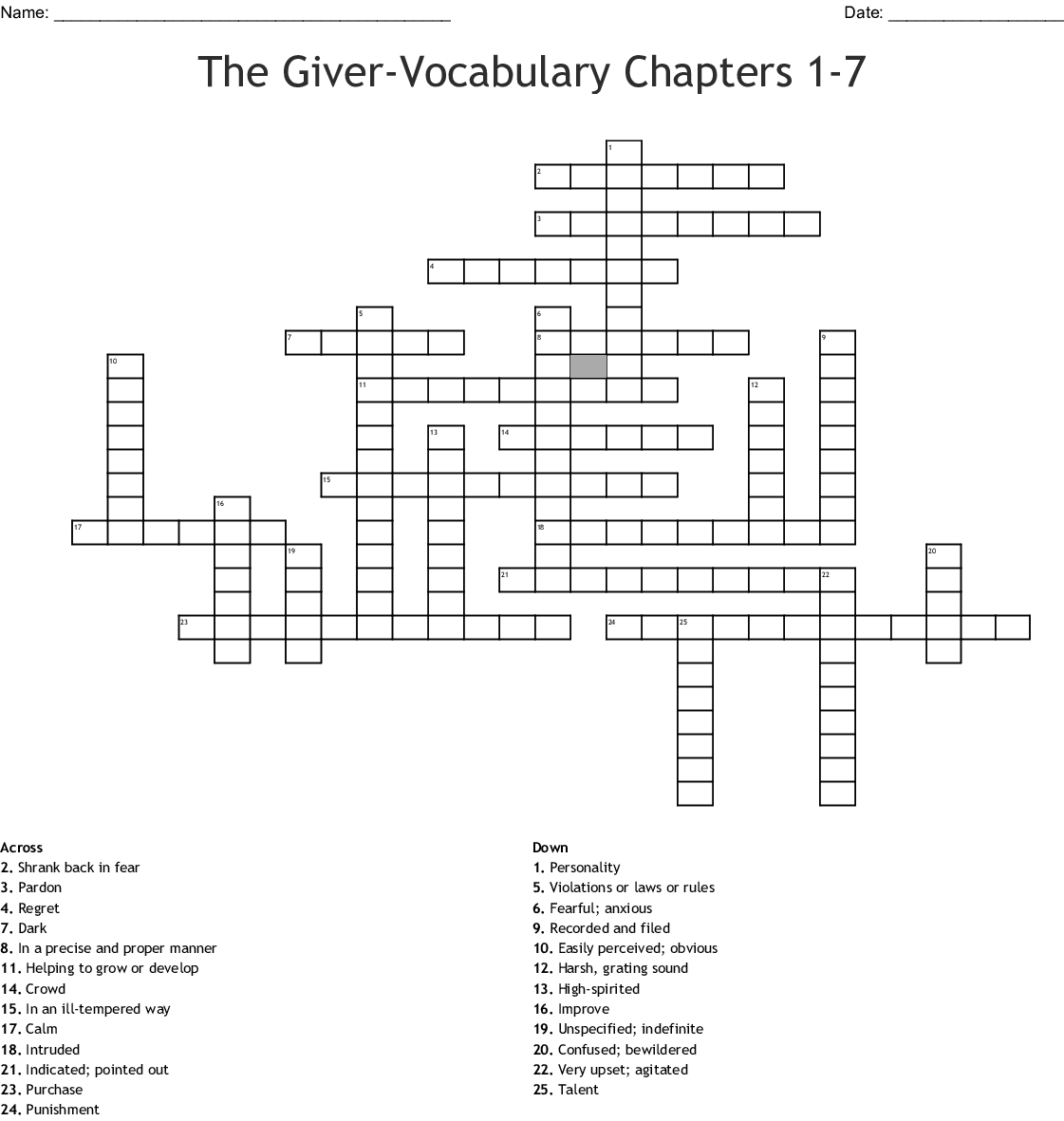 The Giver Vocab Words Crossword