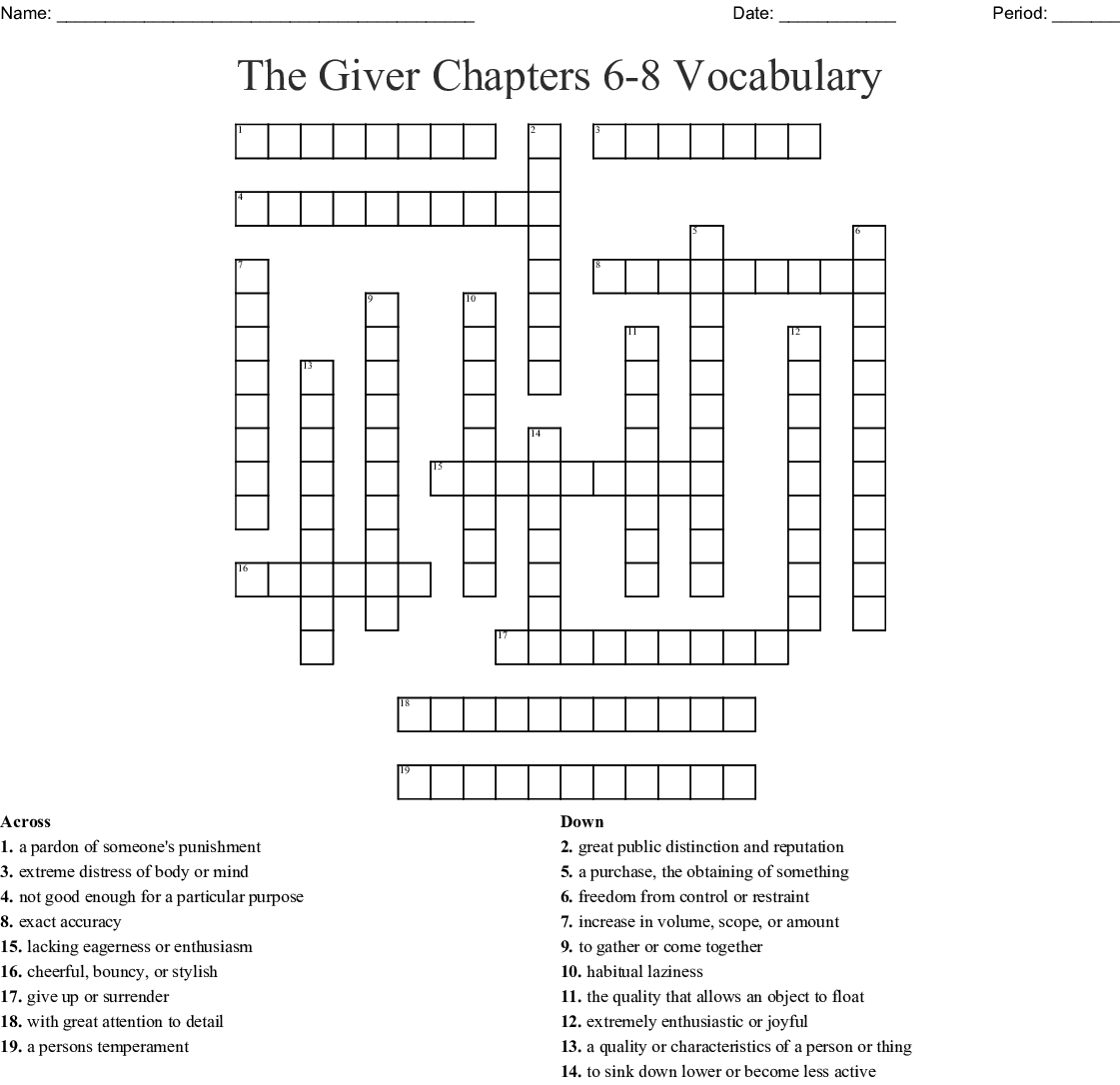 The Giver Worksheet Answer Key