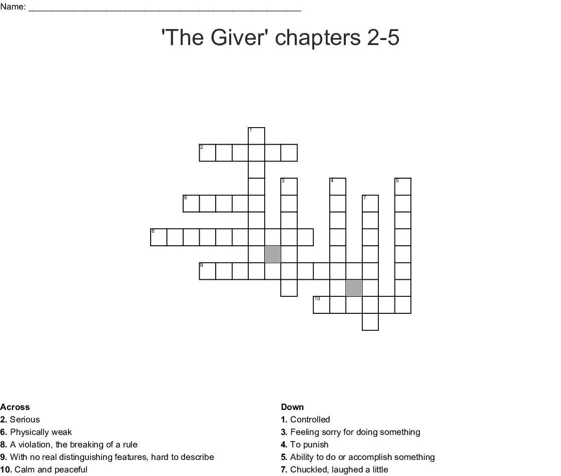 The Giver Chapters 2 5 Vocabulary Crossword
