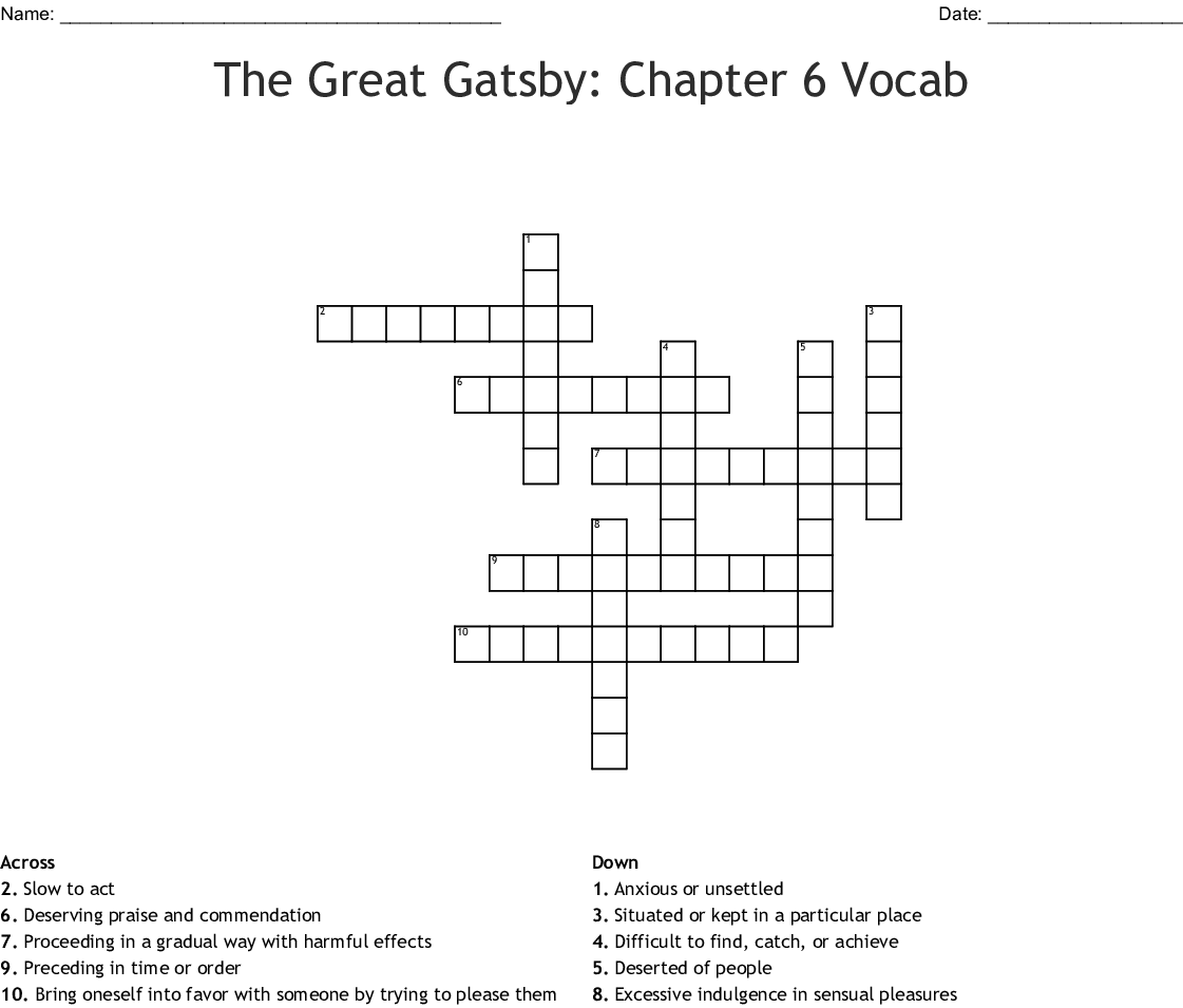 Crossword The Great Gatsby Answers