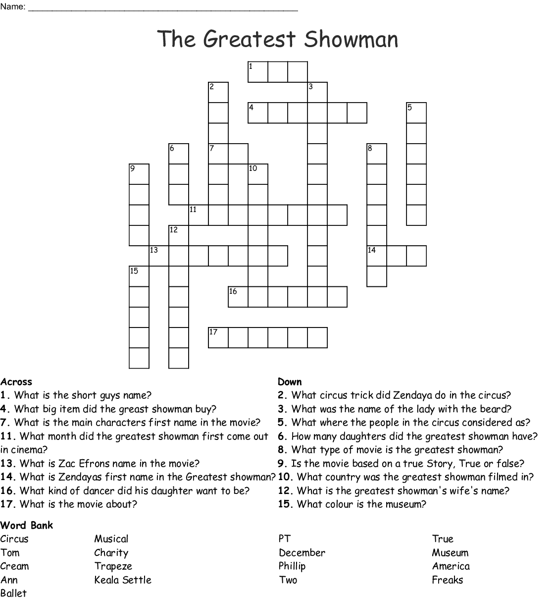 The Greatest Showman Word Search