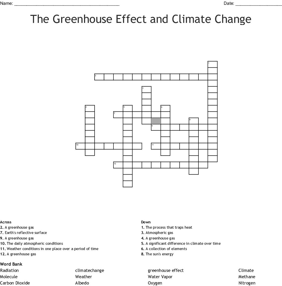 The Greenhouse Effect And Climate Change Crossword