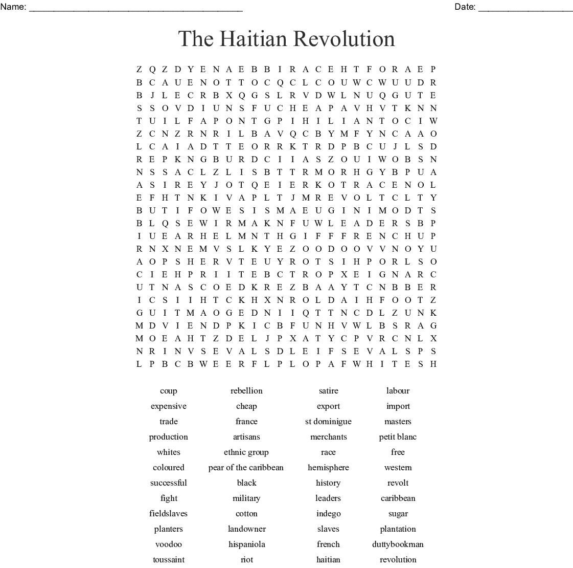 The Haitian Revolution Word Search