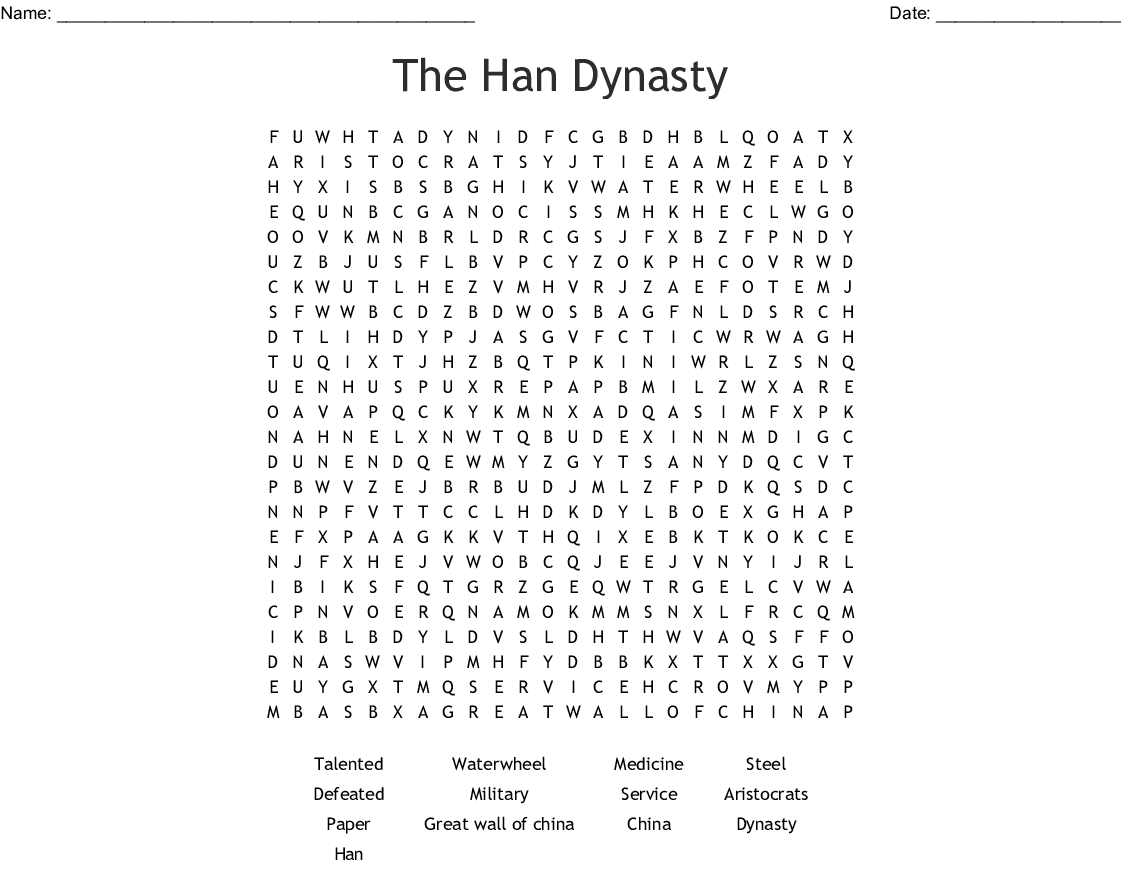 The Han Dynasty Word Search