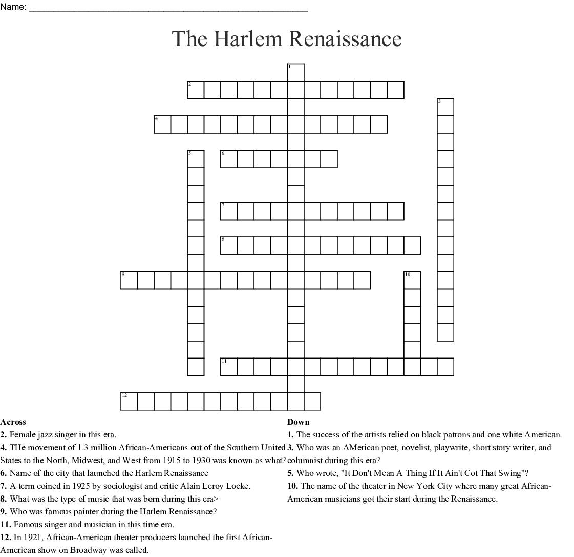 Harlem Renaissance Word Search