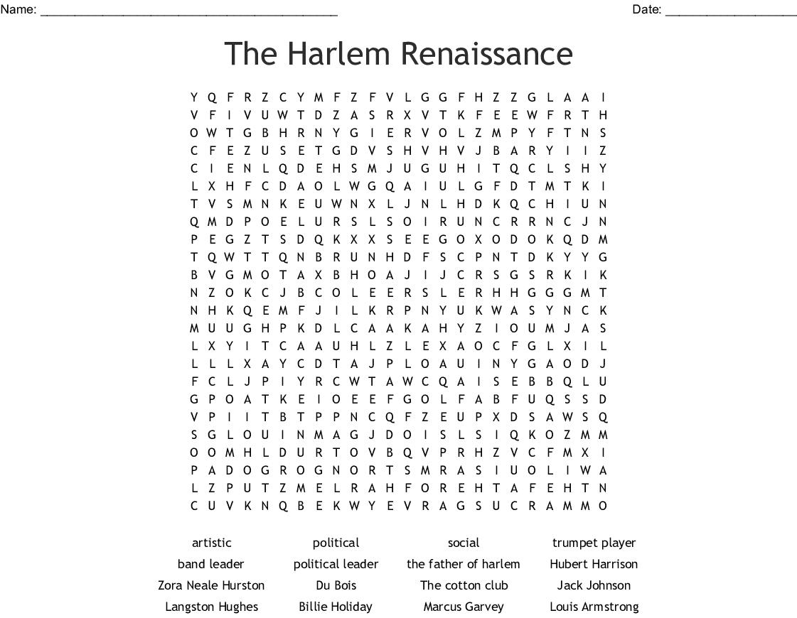 The Harlem Renaissance Word Search