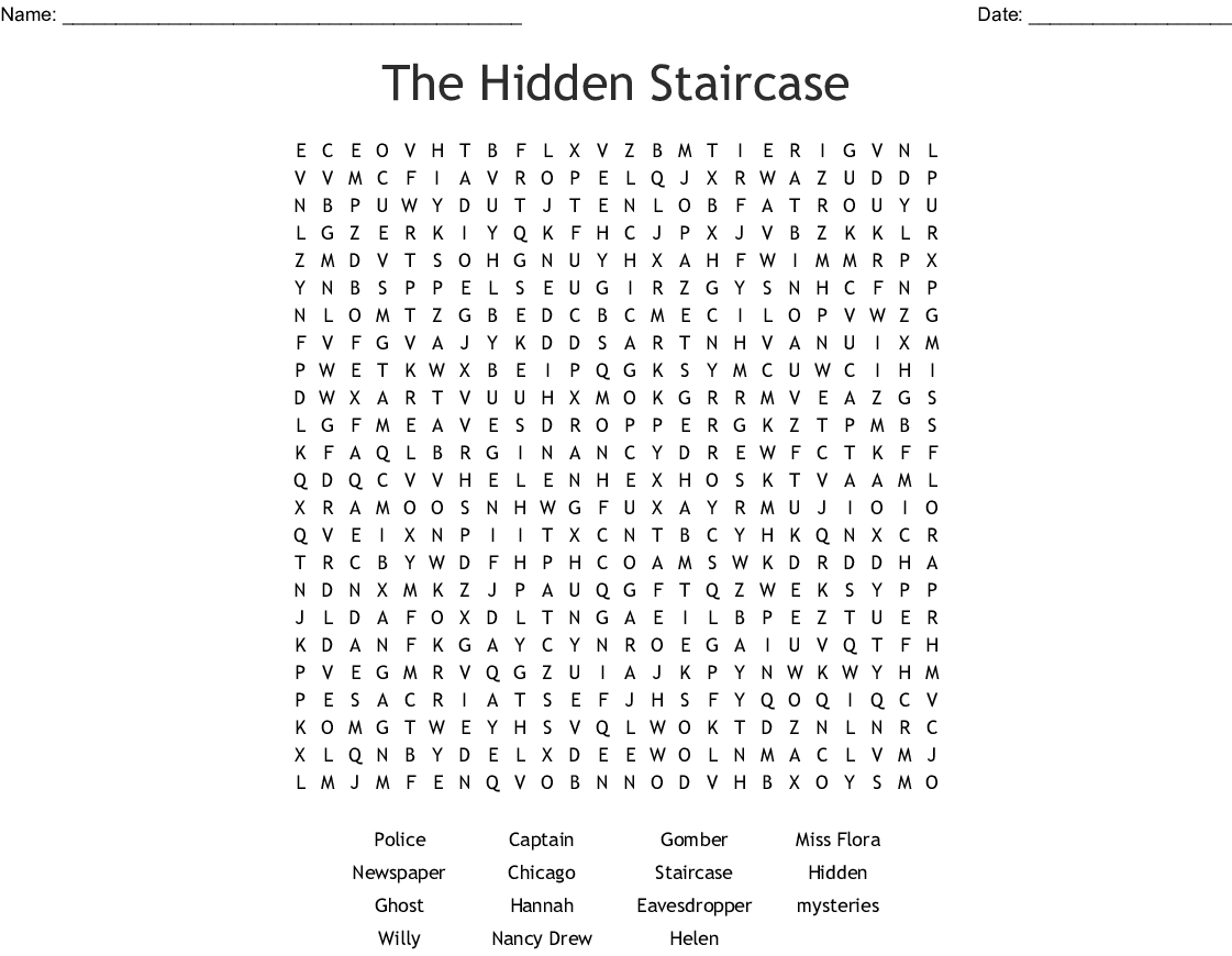 Nancy Drew And The Hidden Staircase Word Search