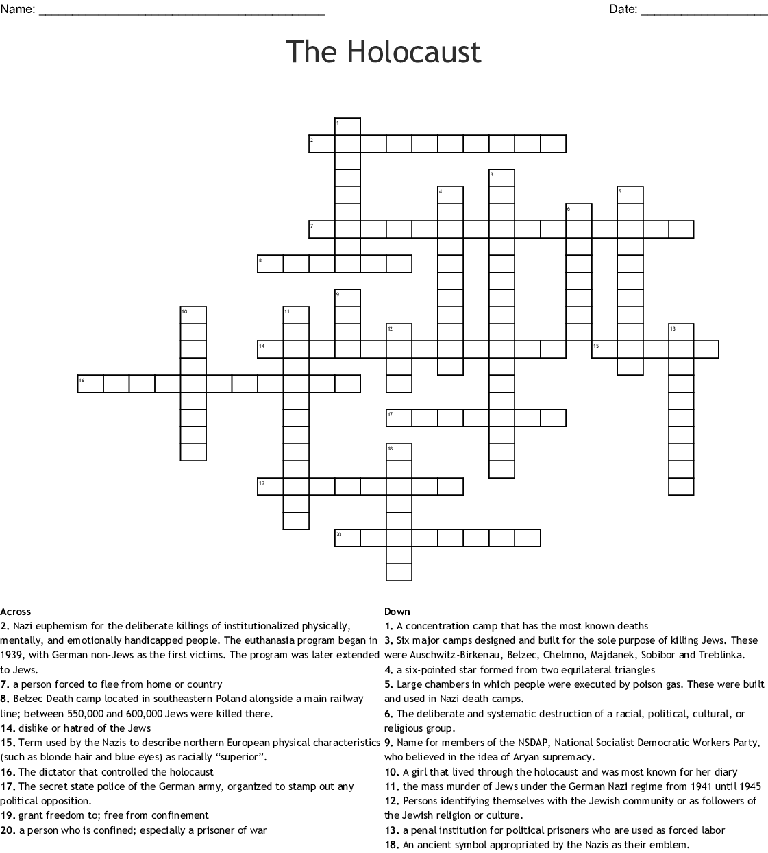Holocaust Word Search