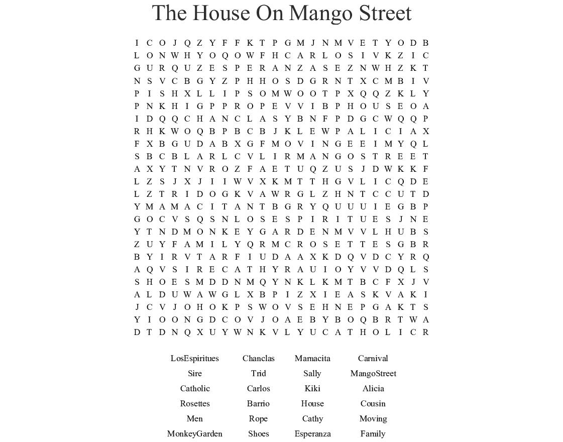 The House On Mango Street Worksheet Answers