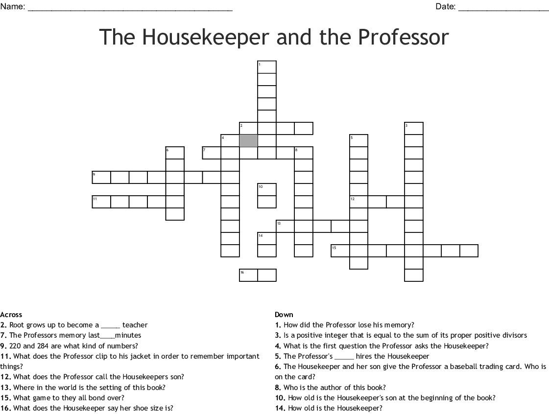 The Housekeeper And The Professor Crossword