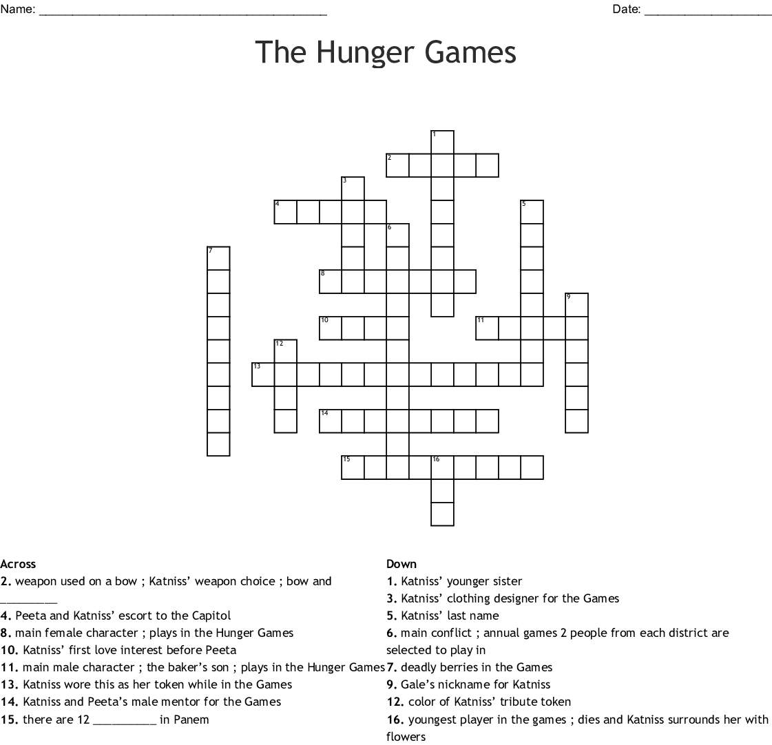 The Hunger Games Crossword