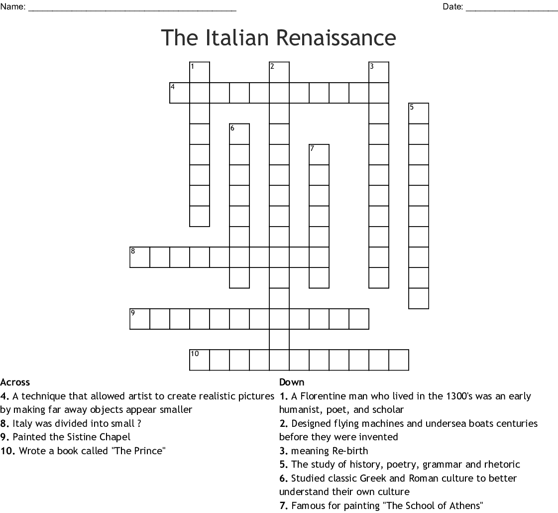 The Italian Renaissance Crossword