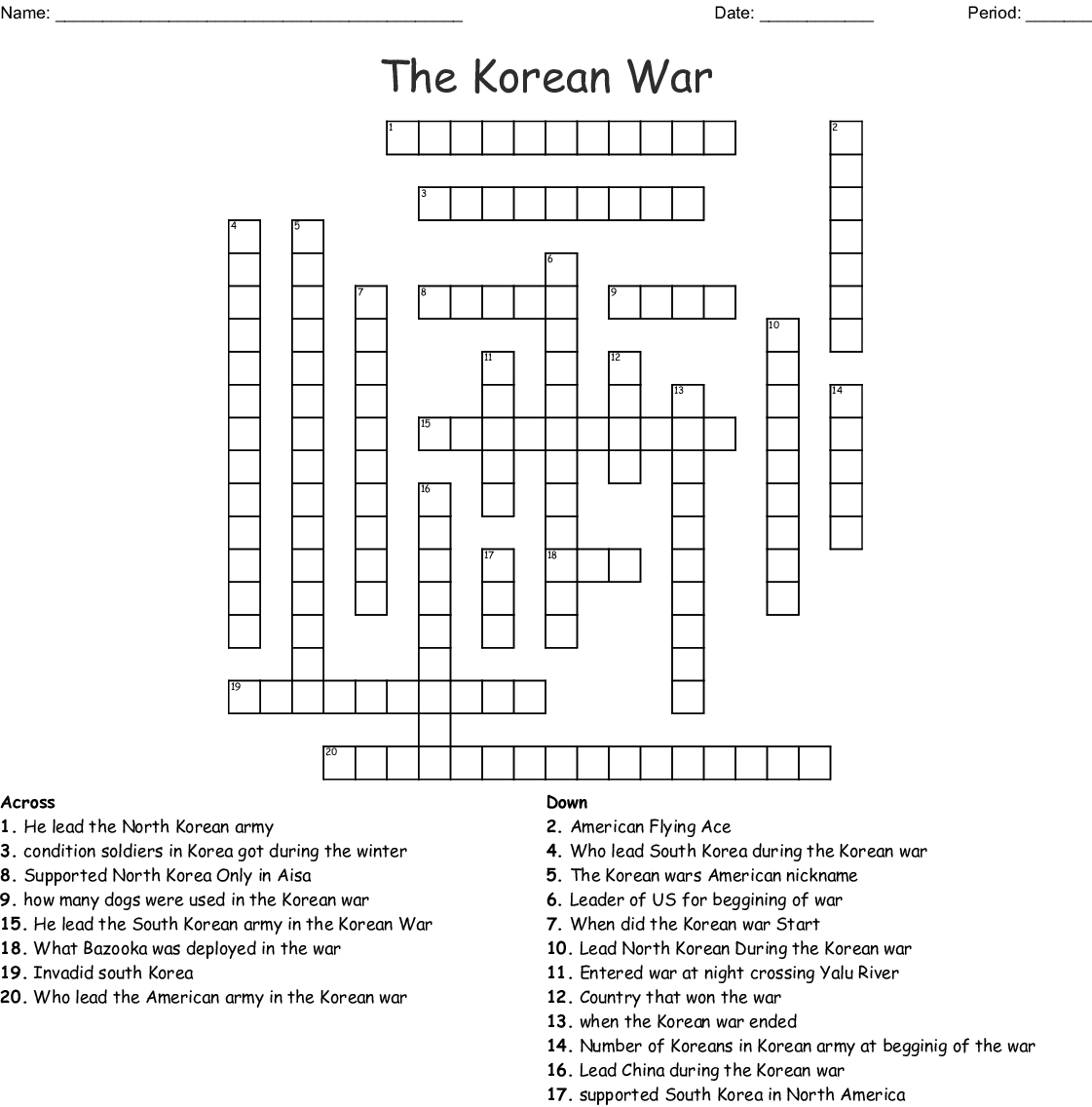 Korean War Word Search