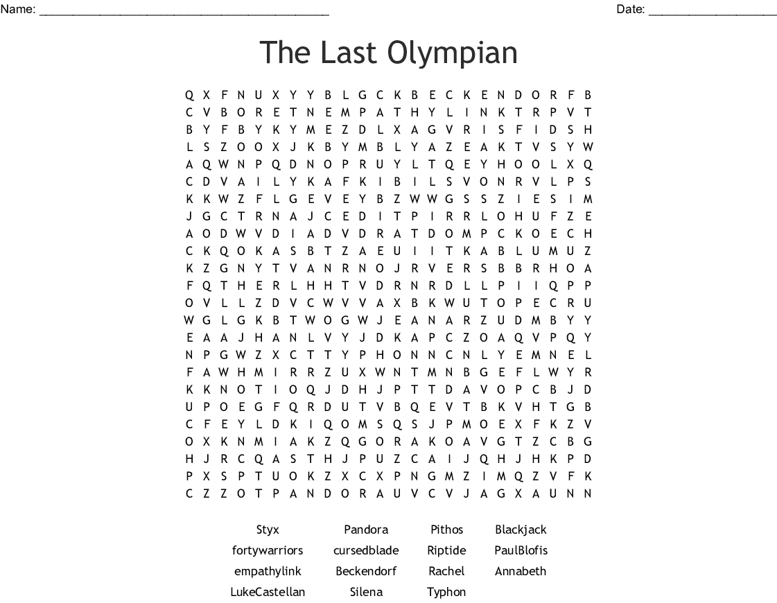 The Last Olympian Word Search