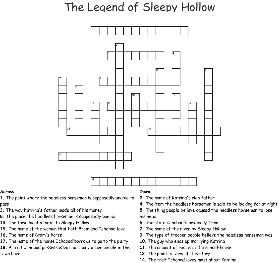 The Legend Of Sleepy Hollow Worksheet Answers