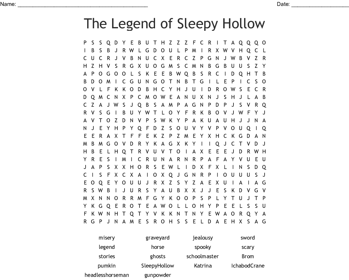 The Legend Of Sleepy Hollow Word Search