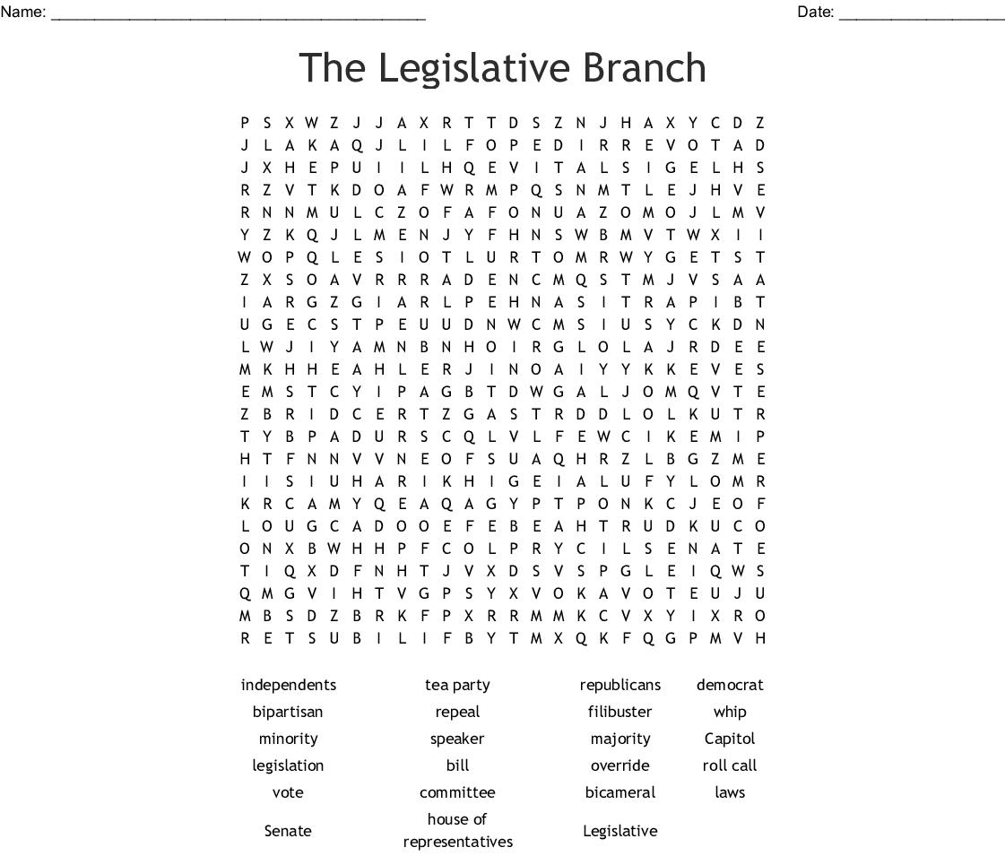 The Legislative Branch Word Search