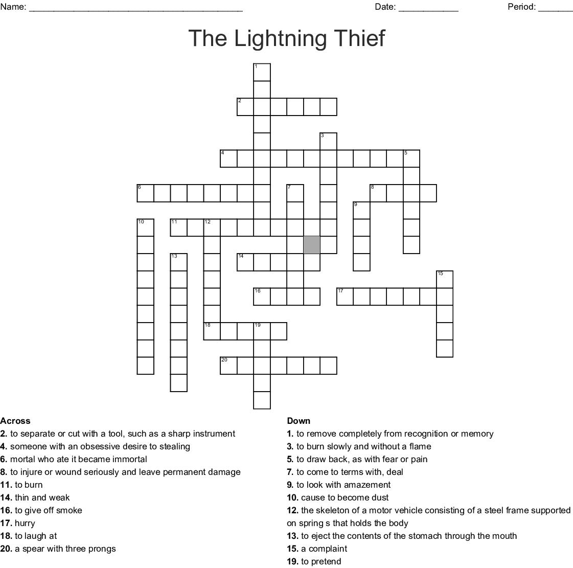 The Lightning Thief Crossword Puzzle