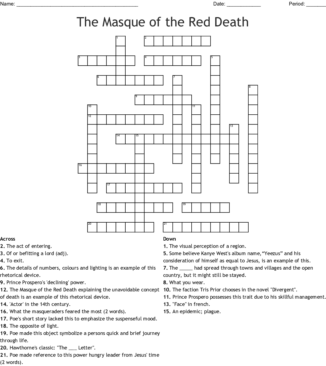 The Masque Of The Red Crossword