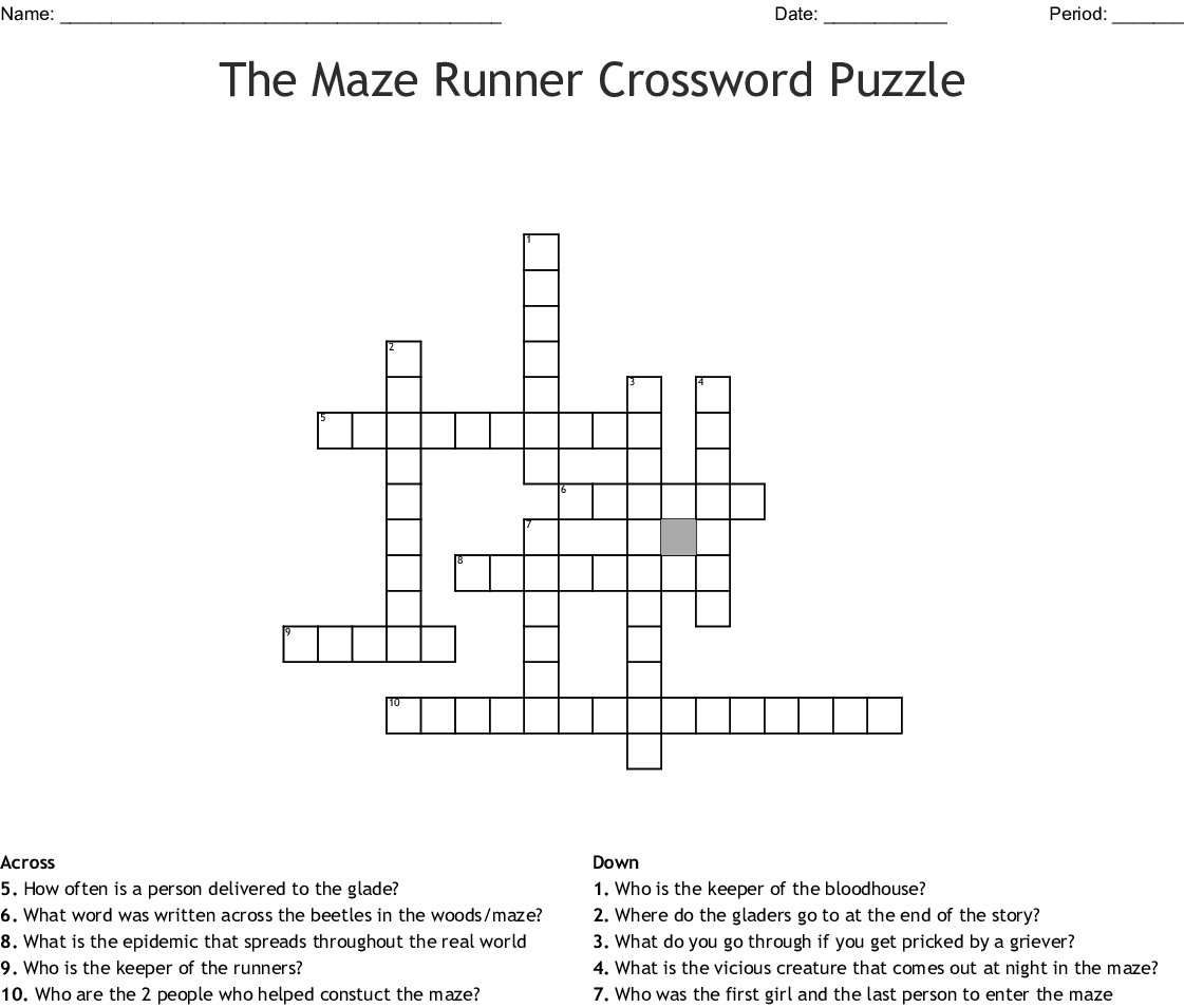 The Maze Runner Crossword Puzzle