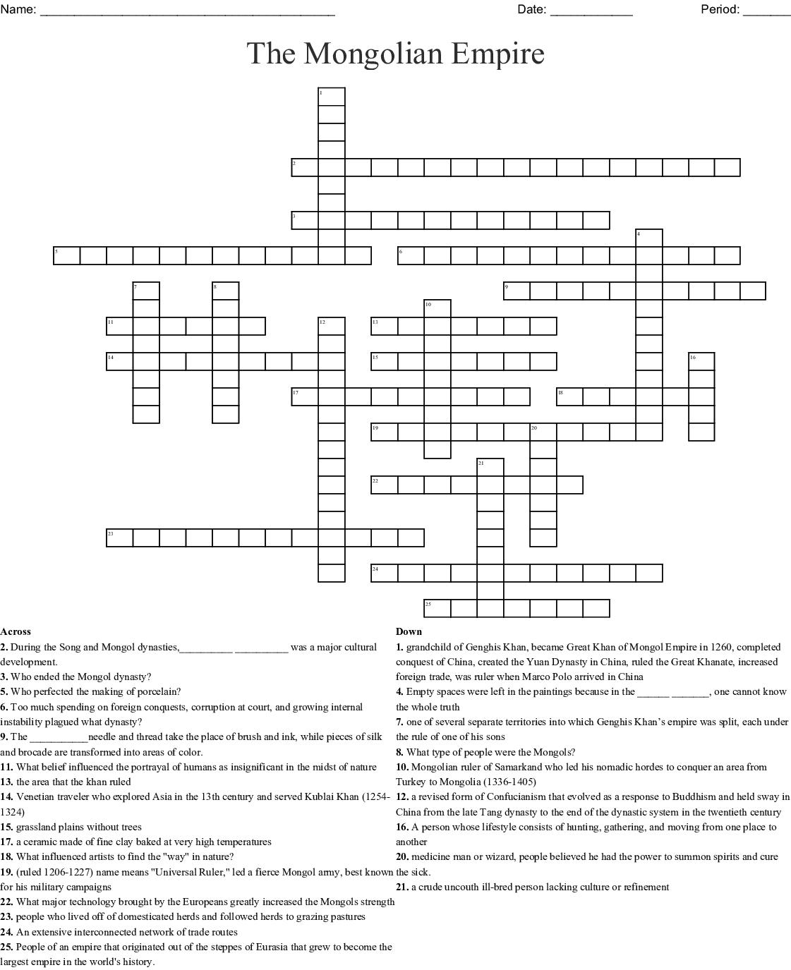 Chinese Dynasties Crossword