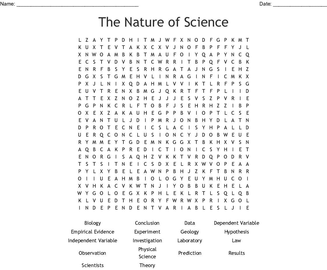 The Nature Of Science Word Search