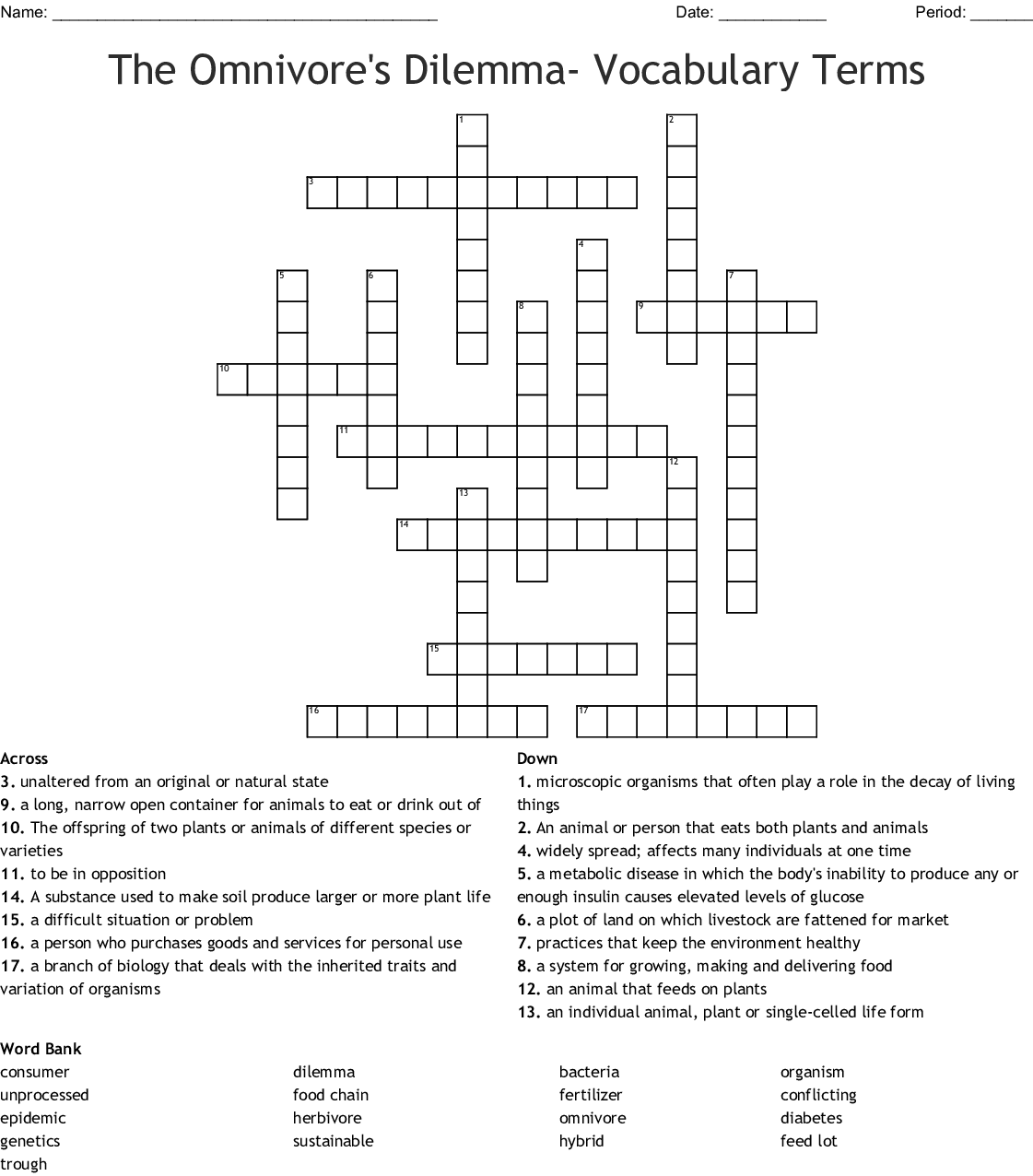 The Omnivore S Dilemma Vocabulary Terms Crossword
