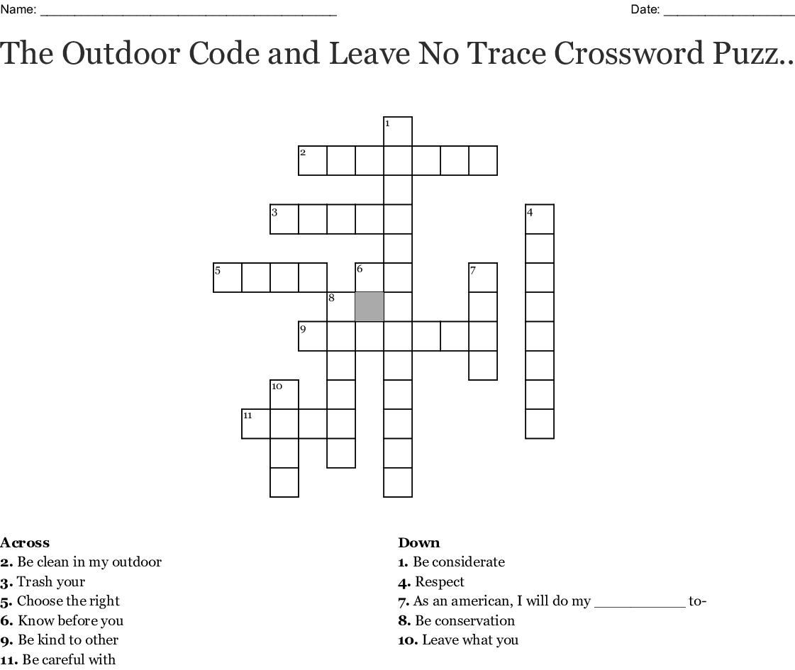 Leave No Trace Word Search